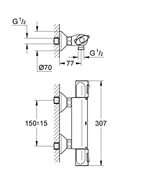 GROHE Mitigeur Thermostatique douche Trend 34229000 (Import ...