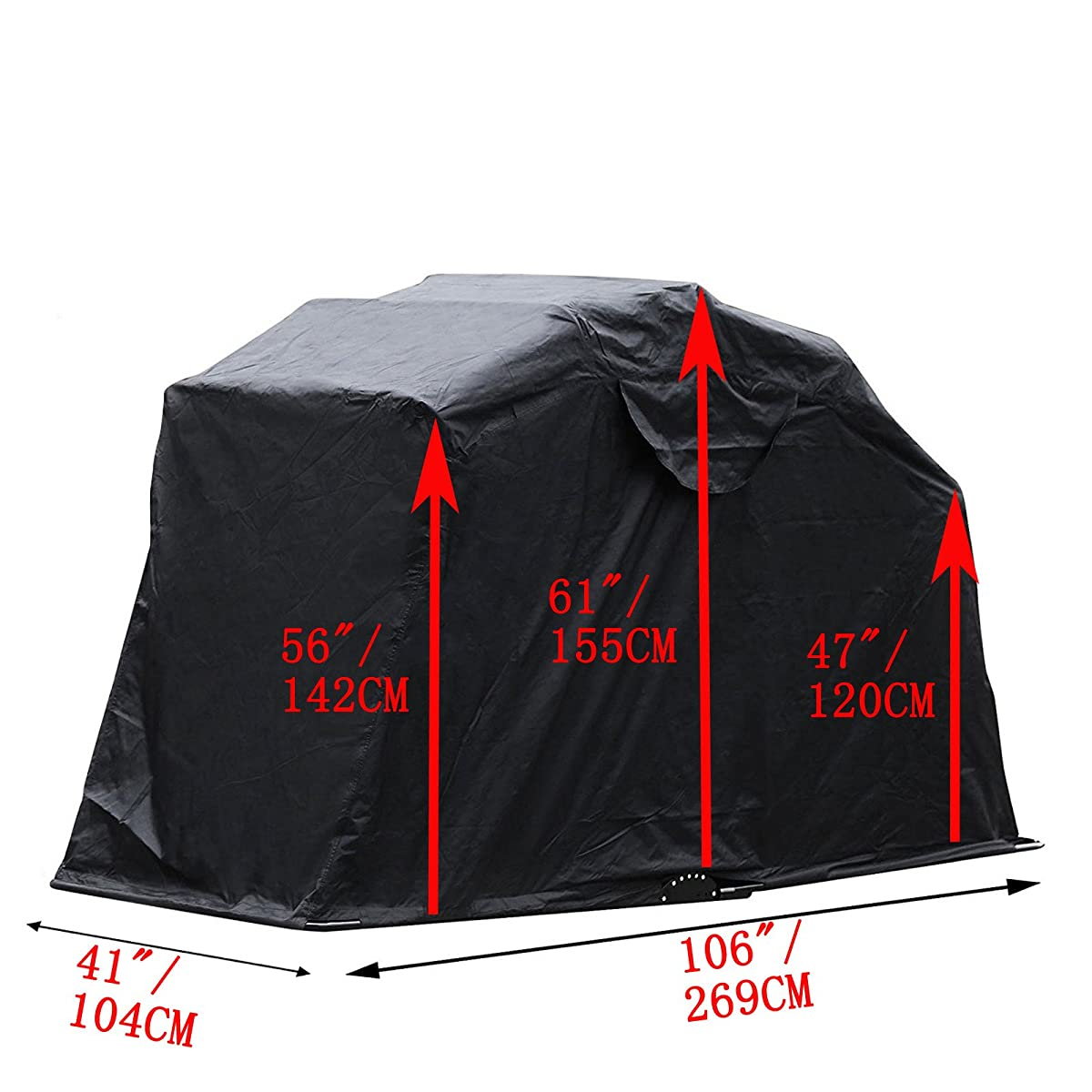"""LOVSHARE Motorcycle shed 61""""x106"""" Folding Motorbike Cover Metal Frame Motorcycle Shelter Storage Motorcycle Tent for Outdoor Motorbike Waterproof Protection (Motorcycle Shelter)"""