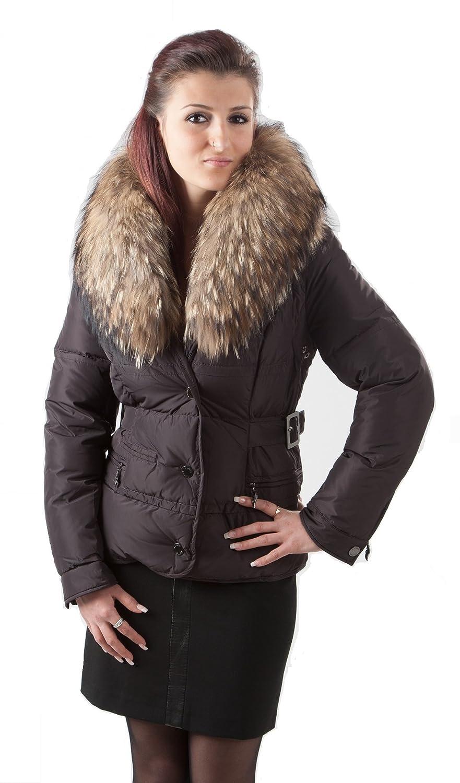 Q505 Damen Daunenjacke mit Pelzkragen Gr.36/38 Farbe dunkelbraun