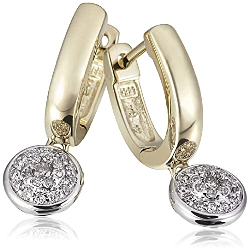 Goldmaid Ladies'Pendant Earrings 14 Carat 585 Yellow Gold Glamour Bicolour 44 Cut Diamonds 0,24 ct. Pa O6195BI