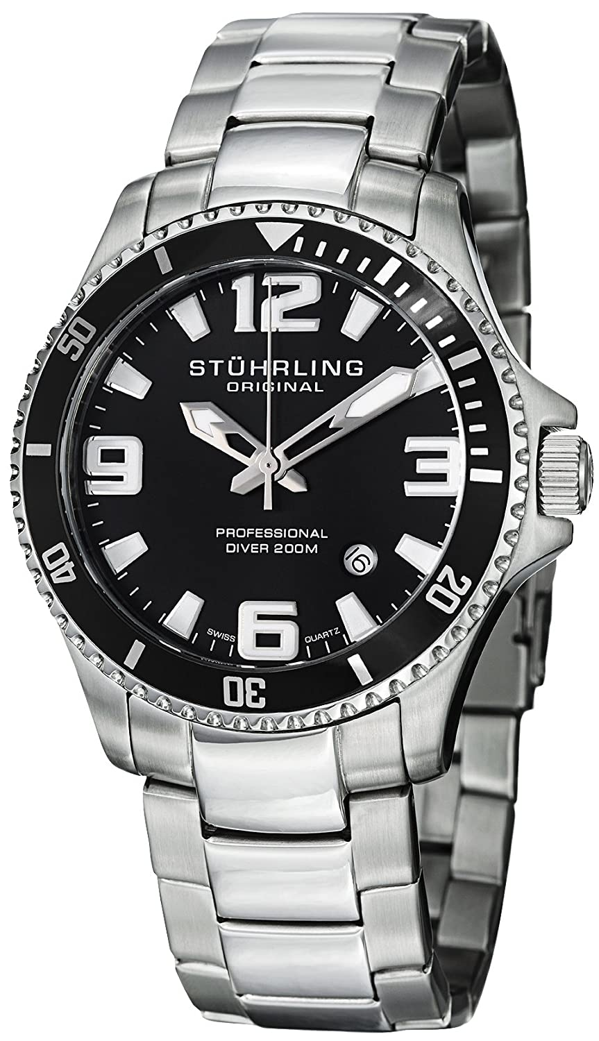 Stuhrling Original Men&#8217;s 395.33B11 Aquadiver Regatta Champion Professional Diver Swiss Quartz Date Black Bezel Watch $49.99