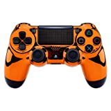 eXtremeRate Chrome Orange Edition Faceplate Cover, Front Housing Shell Case Replacement Kit for Playstation 4 PS4 Slim PS4 Pro Controller (CUH-ZCT2 JDM-040 JDM-050 JDM-055) (Color: Chrome Orange)