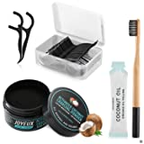 Ultimate Teeth Whitening Kit, All Natural Activated Coconut Charcoal Teeth Whitening Powder (30g) + Bamboo Toothbrush + Dual-purpose Dental Floss Picks (45 PCS) + Coconut Oil Pulling (1 PCS) for Brigh
