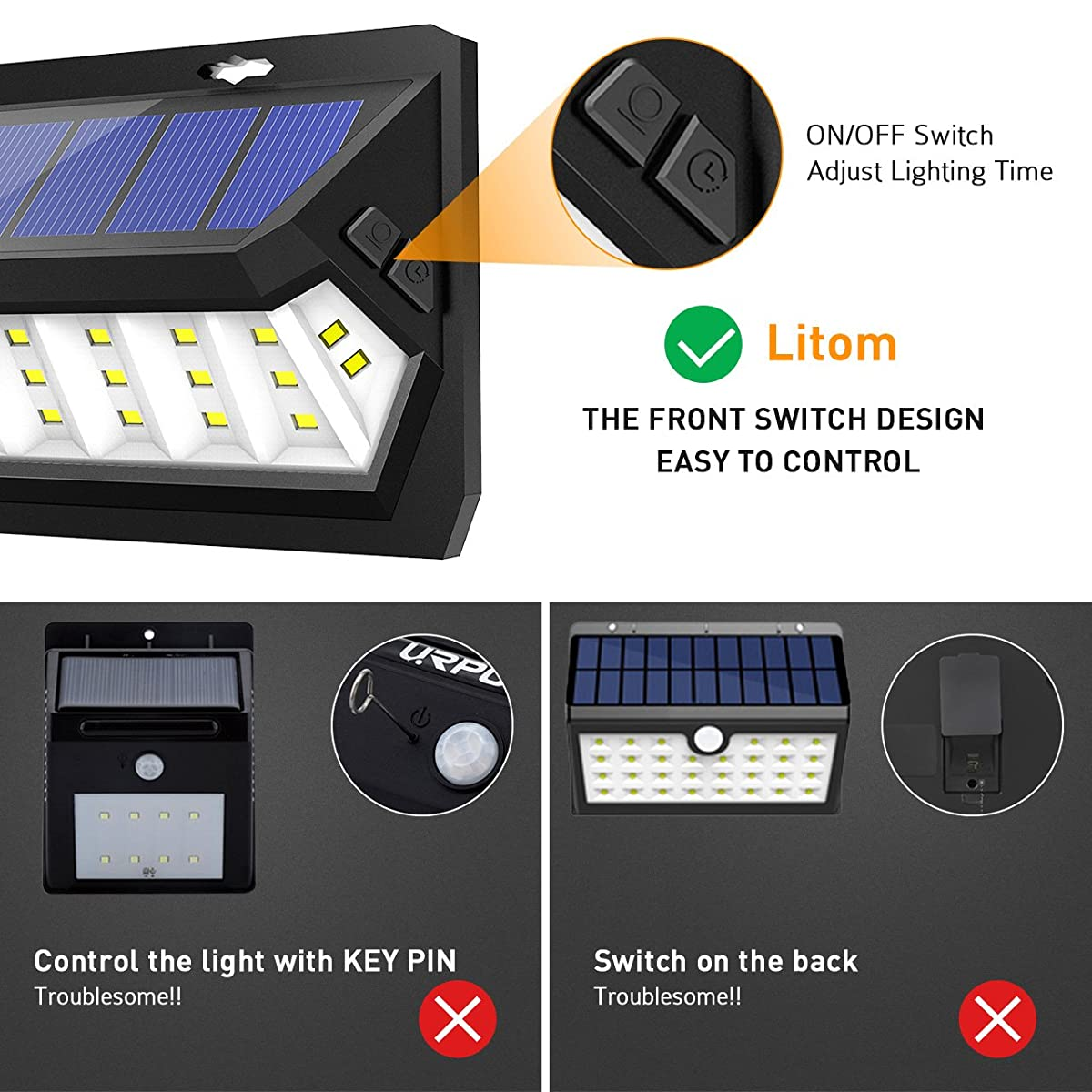 Litom Solar Lights Outdoor 30 LED, Adjustable Lighting Time Solar Motion Sensor Light with Wide Angle and Waterproof Design, Wireless Solar Lighting for Garden Yard Patio