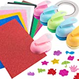 LoveInUSA Crafts Punch Set, 6 Style Paper Punches Craft Holes Punch 10 Foam Paper Glitter Cardstock for Scrapbooks Albums Photos Cards DIY Handcrafts (Tamaño: Big Paper Punch)