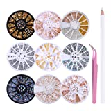 LILYCUTE Nail Art Rhinestones Nail Beads Gold Metal Studs Stone 3D Nail Decoration with Rhinestones Picker Pencil Tweezer Manicure Tools 9 Boxes (Color: set 1)