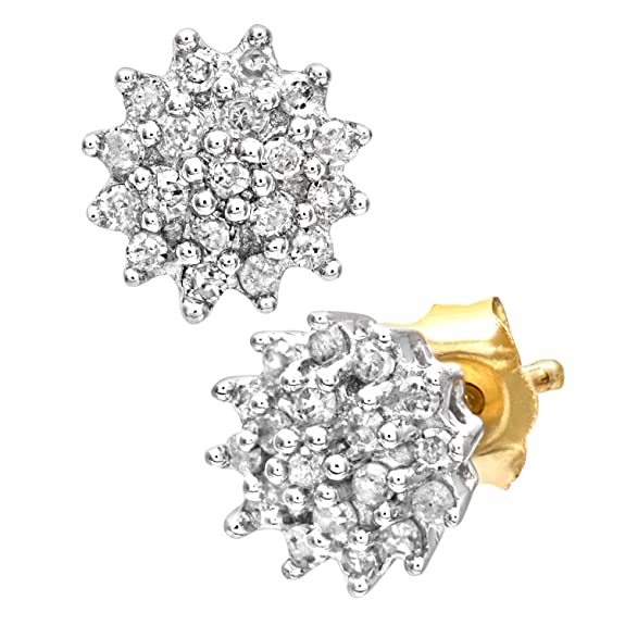 Naava Women's 0.25 ct Diamond Cluster 9 ct Yellow Gold Earrings