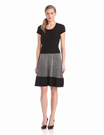 Gabby Skye Women's Short Sleeve Knit Dress, Black, Medium