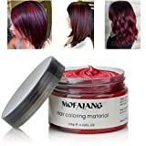 MOFAJANG Hair Coloring Dye Wax, Wine Red Instant Hair Wax, Temporary Hairstyle Cream 4.23 oz, Hair Pomades, Natural Hairstyle Wax for Men and Women Party Cosplay (Color: Wine Red)