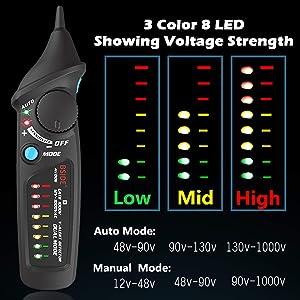 Bside AVD06 Non-Contact Voltage Detector Electric Power Socket Outlet AC Voltage Tester Pen 12-1000V Auto/Manual Mode Adjustable Sensitivity NCV Live