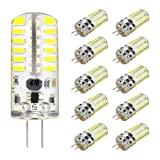 KINGSO G4 LED Bulb 10 Pack 3W Bi-Pin LED Light Bulb 48×3014 SMD 20W Halogen Bulb Equivalent Silicone Coated Shatterproof 220 Lumens 360° Beam Angle AC/DC 12V - Pure White (Color: Pure White, Tamaño: 3W-Pure White)