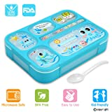 Leakproof Bento Lunch Box for Kids, FIOLOM 5 Compartments Divided Lunch Container Set with Spoon & Fork Cute Microwave Safe Meal Prep Box for Boys Girls Children School (Color: Blue, Tamaño: Blue)