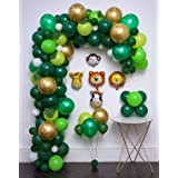 Jungle Safari Theme Party Supplies 144Pcs,Green Palm Leaves 10Pcs,Latex Balloons 122pcs,Animal foil Balloons 5Pcs,Tying Tools,Decorating Strip,Gule Dots,Flower Clips,Ribbon,Birthday Shower Christmas (Color: Green)