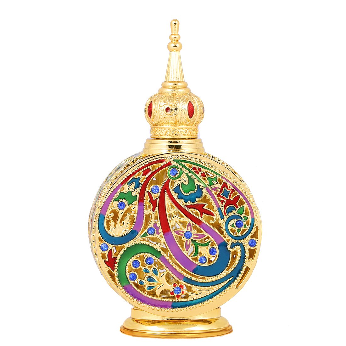 H&D Vintage 18ml Empty Refillable Egyptian Style Enameled Metal and Glass Perfume Bottle 0