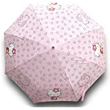 Finex Hello Kitty Pink Manual Tri-fold Folding Compact Travel Rain Umbrella UV Protection Strong Windproof (Color: Pink (Hello Kitty), Tamaño: One Size)