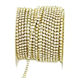 yueton 11 Yards 2MM Crystal Rhinestone Close Chain Trimming Claw Chain Jewelry Crafts DIY (Gold) (Color: Gold)