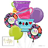 Andaz Press Balloon Bouquet Party Kit with Gold Cards & Gifts Sign, Alice in Wonderland Mad Hatter Tea Party Foil Mylar Balloon Decorations, 1-Set (Color: Alice in Wonderland)