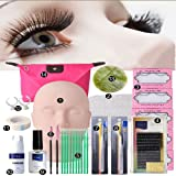 Zinnor Makeup Mannequin Head Set, Professional Eyelash Extensions Practice Set 30 Pcs Grafting Eyelash Tools Kit with Mannequin Head Accessories for Practice or False Eyelashes Application Training