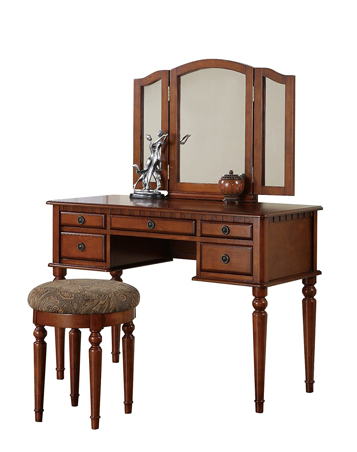 Walnut make up vanity table sets under 200 olivia 39 s place for Vanity table set