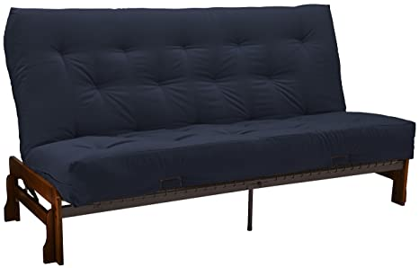 Epic Furnishings Bristol Futon Sofa Sleeper Bed, Queen, Walnut Frame/Navy Mattress