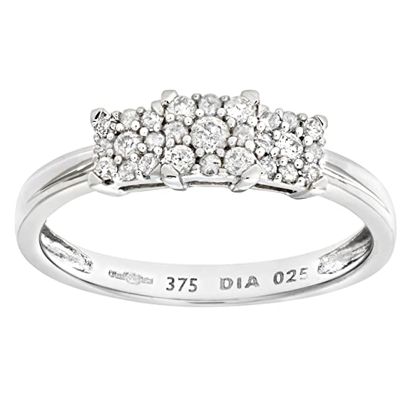 Naava 9ct White Gold Diamond Cluster Ladies Ring