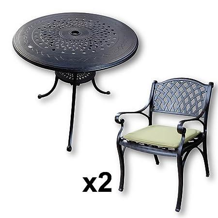 Lazy Susan - Mesa redonda 80 cm ANNA y 2 sillas de jardín - Conjunto de jardín de aluminio, color Bronce Antiguo (sillas KATE, cojines verdes)