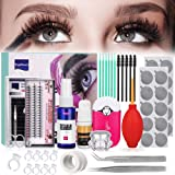 Eyelash Extension Kit, TopDirect Professional False Lashes Eyelashes Extension Practice Set Tools Lash Starter Kit Eyelash Grafting Training Tool for Makeup Practice Eye Lashes Graft (Tamaño: B)