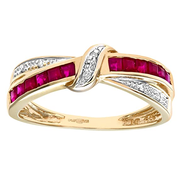 Naava 9ct Yellow Gold Ruby And Diamond Bow Ring