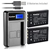 Kastar Battery (X2) & LCD Slim USB Charger for Fujifilm NP-60, Kodak KLIC-5000, Samsung SLB-1137, Olympus Li-20B and Fujifilm FinePix, Kodak EasyShare, One Series, Samsung, Olympus AZ-1, AZ-2 Camera (Tamaño: 1 LCD charger + 2 batteries)
