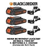 Black & Decker LBXR20 20-Volt Max Lithium-Ion Battery Pack & Black & Decker 20v Lithium-ion Charger #90590282 (3 BATTERIES & 3 CHARGER 6-PIECE SET)) (Color: ORANGE & BLACK, Tamaño: 3 BATTERIES & 3 CHARGER 6-PIECE SET))