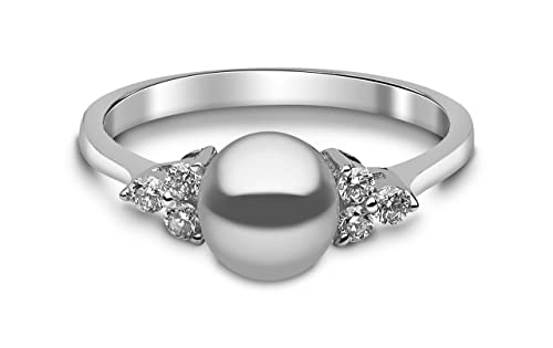 Kimura Pearls 9ct White Gold Grey Freshwater Pearl and Diamond Ring - Size M RN0052-301GM