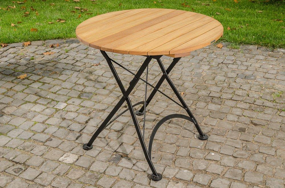 CLP handgefertigter runder Klapptisch MINTO, Durchmesser 80 cm, in romantischem Design, aus galvanisiertem Eisen und hochwertigem Teak schwarz jetzt bestellen