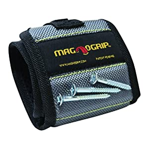 MagnoGrip Magnetic Wristband, Platinum with General Tools 2-in-1 Laser Tape Measure (Color: Platinum)