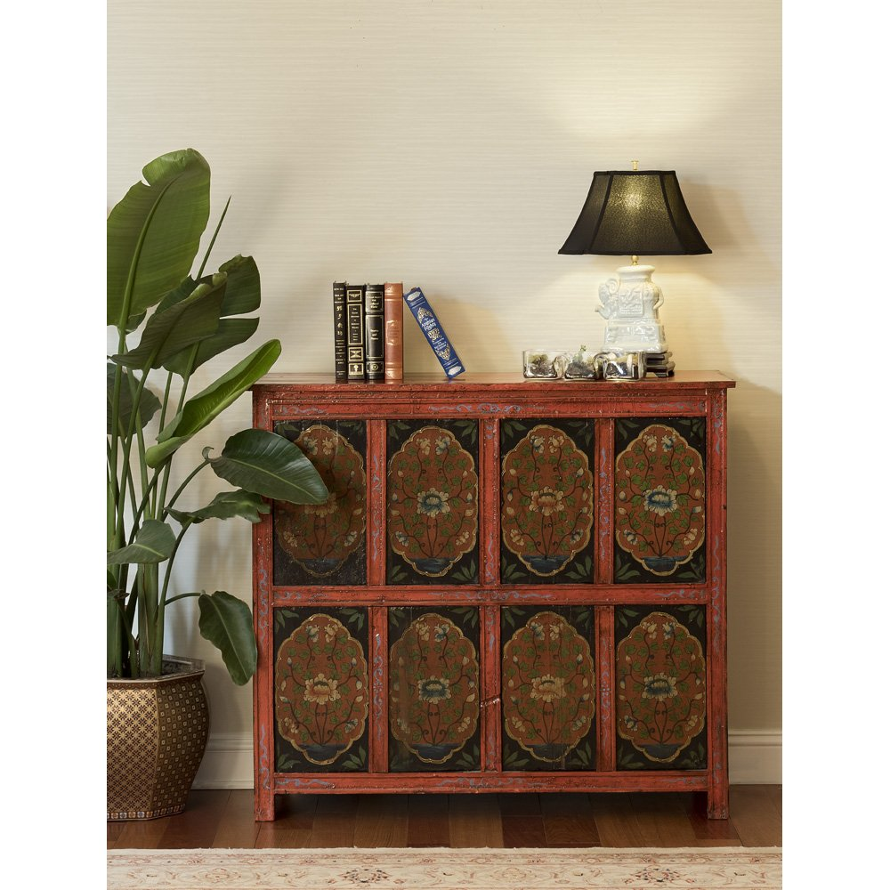 China Furniture Online Elmwood Cabinet, Hand Painted Floral Motif Tibetan Style High Chest Distressed Red and Blue 2