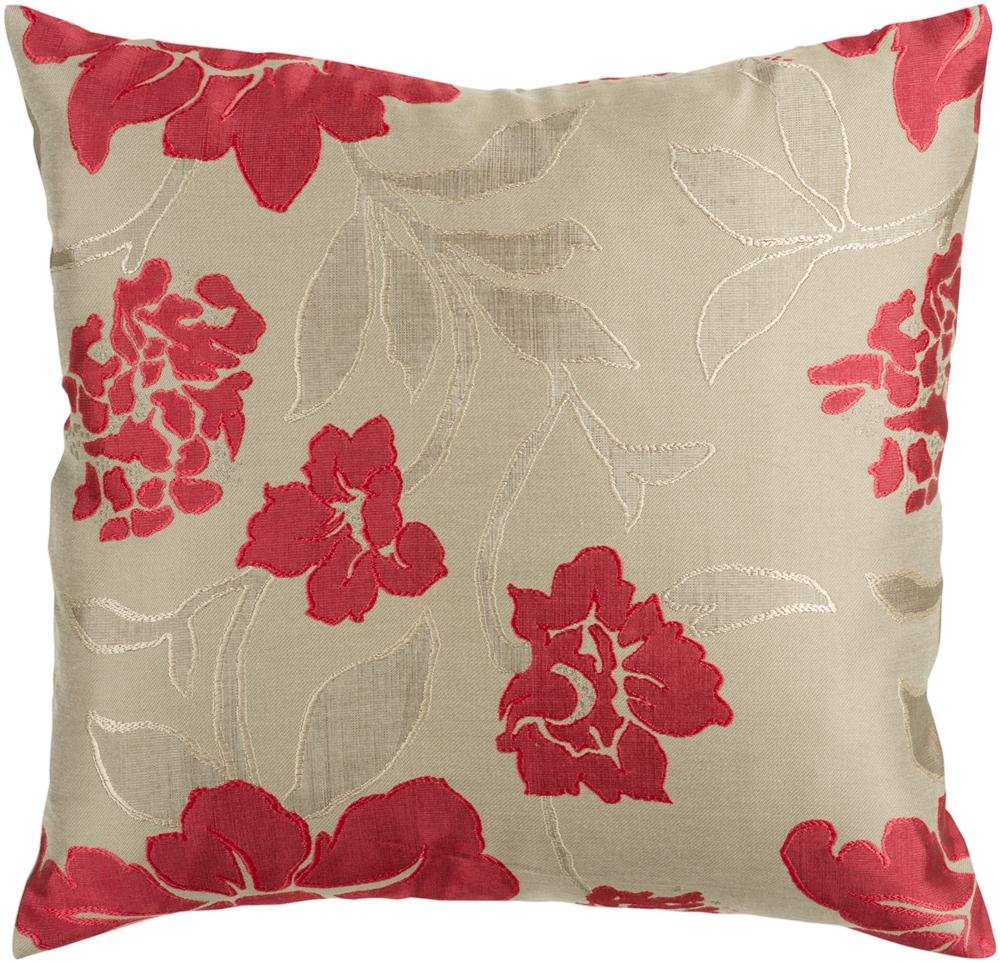 Surya HH-047 Hand Crafted 88% Polyester / 12% Polyamide Beige 18 x 18 Floral Decorative Pillow