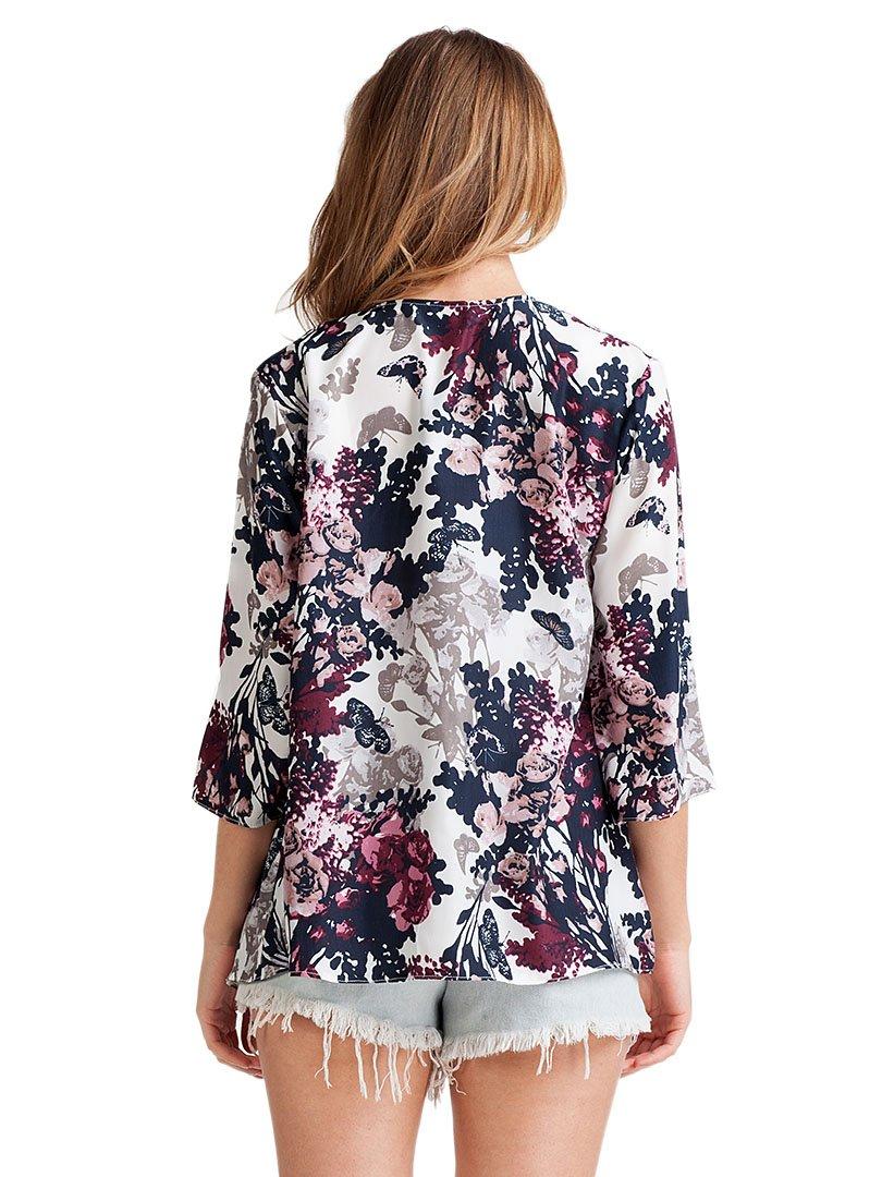 Choies Women's Chiffon Floral Kimono Loose Kimono Cardigan Blouse 1