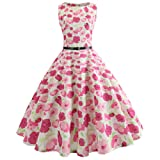 Chanyuhui Women Dresses Clearance Lady Vintage Print Bodycon Sleeveless Evening Party Swing Dress with Belt (S, Hot Pink #) (Color: Hot Pink #, Tamaño: Small)