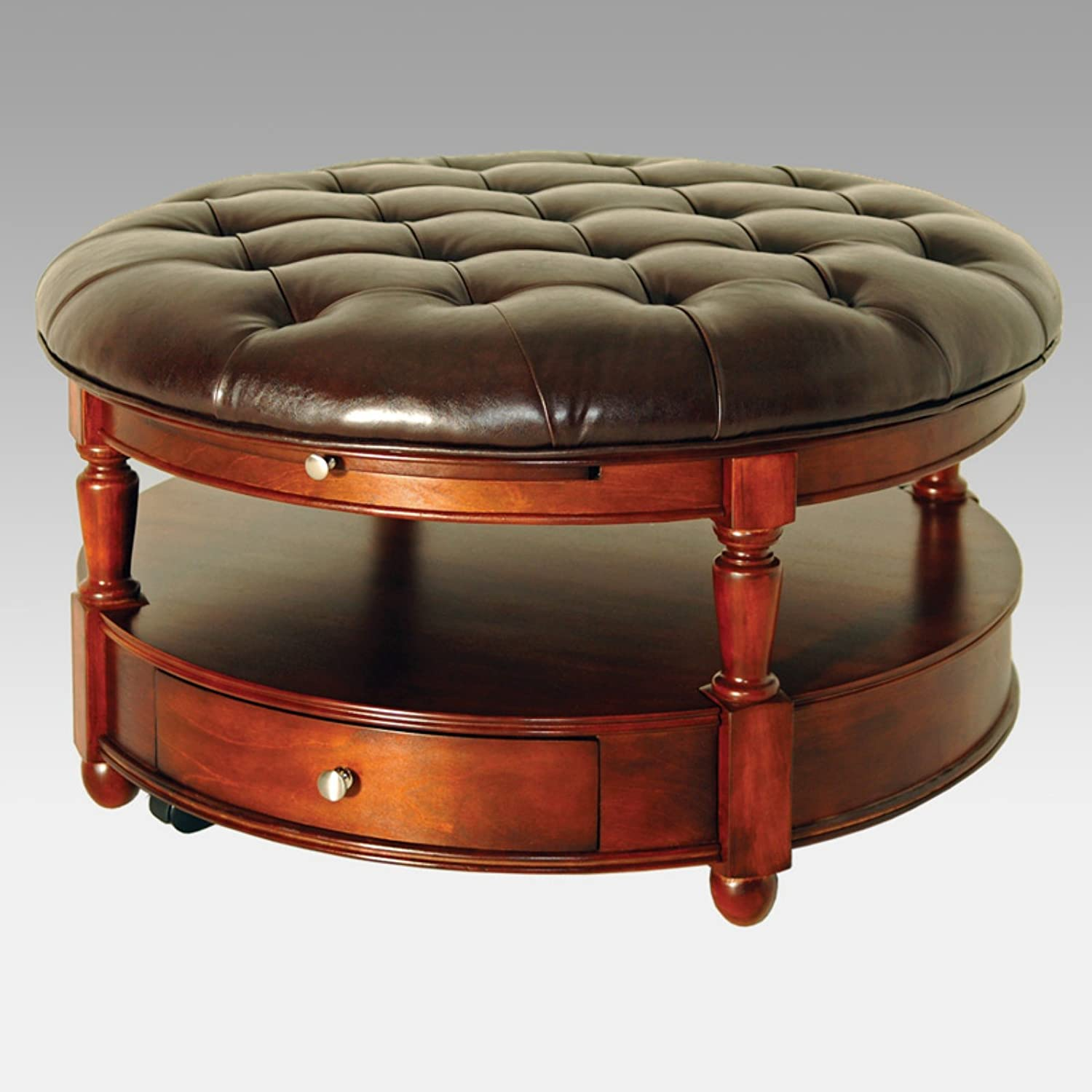 Large Round Tufted Leather Ottomans With Storage ~Olivia's