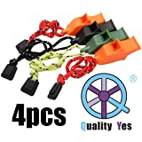 QY 4PCS Emergency Hiking Camping Survival Dolphins Modelling Whistle With Lanyard, Black Orange Green and Mud Color (Color: Black)