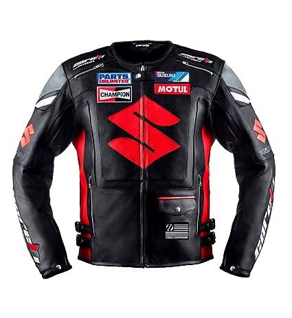 Suzuki Noir Racing Veste en cuir