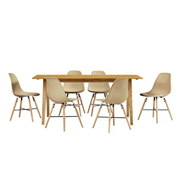 [en.casa] Table à manger du bambou avec 6 chaises beige180x80cm cuisine