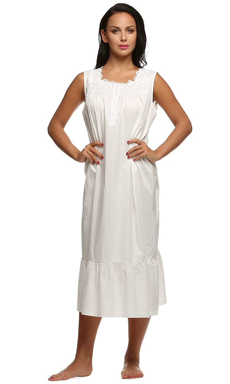 Ekouaer Womens Nightgown 100% Cotton Victorian Long Sleeveless Sleepwear S-XL 3