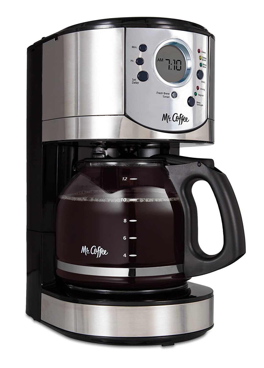 Mr. Coffee 12-Cup Programmable Coffee Maker with Brew Strength Selector, Brushed Chrome Accents, BVMC-CJX31-AM