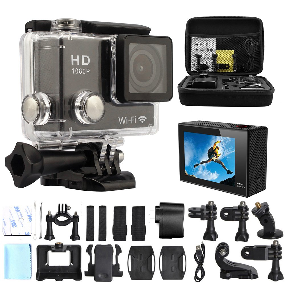 GeekPro 2.0-Inch WIFI HD 1080P 12MP Sports Camera Bundle with Bag, Waterproof Housing and Accessories (Black)(17 Items)