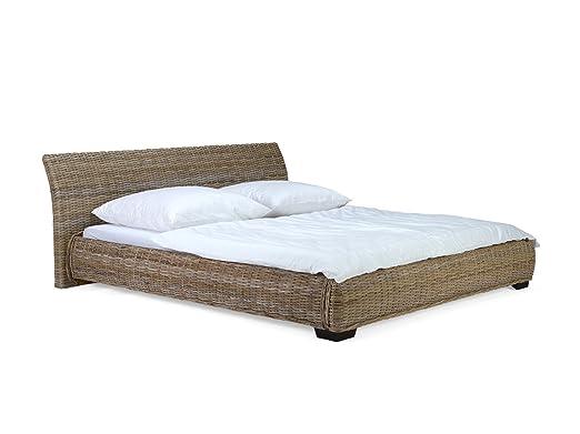 massivum Bett Barika 200x220cm Kubu-Rattan grau lackiert