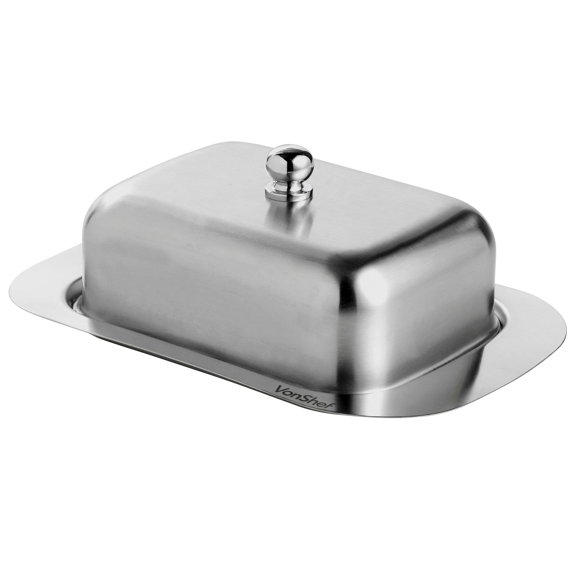 Luxury satin finish 201 quality stainless steel butter dish with lid