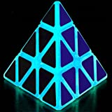 TANCH Glow in the Dark Pyramid Speed Cube 3x3 Triangle Magic Cube Puzzle half Transparent (Color: Blue)