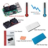 GeeekPi Quite CPU Cooling Fans Heat Dissipation Dual Fan Cooler Fan with 2 Pack Thermal Tape Cooling Kit for Raspberry Pi 3/2 Model B, Fits Retroflag Nespi NES Case (NOT Compatible with Pi 3B+)
