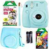 Fujifilm Instax Mini 9 Ice Blue Instant Camera with Two Fun Film Packs - One Rainbow and One White - 20 Exposures with Accessories (Color: blue)