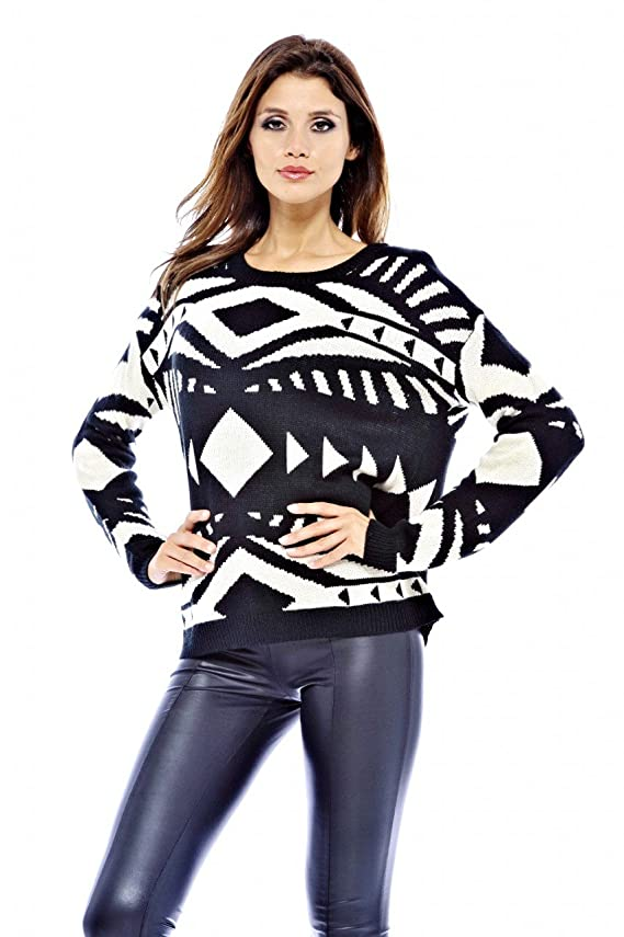AX Paris Women's Aztec Print Knit Sweater